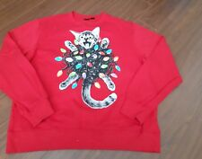1f37bb7090 UGLY CHRISTMAS sweater CRAZY CAT Christmas lights Sweatshirt Red Mad Engine  XL