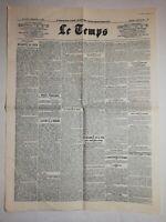N1053 La Une Du Journal Le temps 7 décembre 1921 dépêches télégraphiques