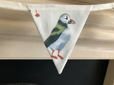 MULTI COLOURED PUFFINS FABRIC BUNTING 15cm x 17 cm 8 FLAGS. PUFFINS