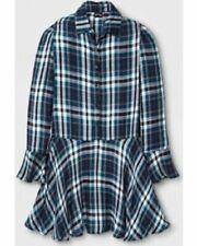 Art Class Girls Blue/Teal/Yellow/White Plaid Shirt Dress Size M 7/8