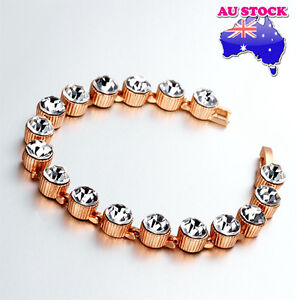 18k Rose Gold Filled Crystal  Bracelet Chain Jewelry Gift
