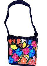 Guatemala Handmade Multicolor Floral Boho Hippie Shoulder Bag Crossbody F017