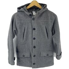 Gymboree Boys Overcoat Size Large (10/12) Gray Wool Blend Hooded Coat