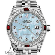 Rolex 26mm Classic Datejust Baby Blue MOP Ruby & Diamond Bezel Stainless Steel