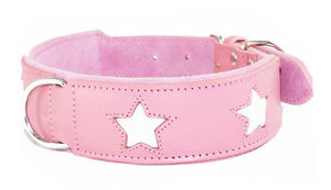 """Pink Leather Dog Collar With 4 White Stars To Fit 17 - 20 Inch 2"""" Wide Staffy"""
