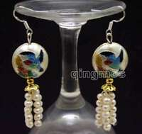 SALE 4-5mm White Round Natural Pearl & 18mm White Cloisonne Dangle earring-ea587