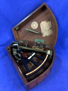 ANTIQUE OCTANT - 1885 - Thomas Sargent US NAVY Issued With Box & Key b849