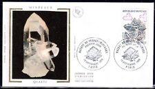 FRANCE FDC - 2430 1 MINERAUX QUARTZ - 13 Septembre 1986 - LUXE sur soie