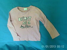 Girls 3-4 Years - Pink Long-Sleeved Top 'Bright as a Button' Logo - Next