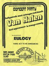 Original VAN HALEN 1977 Club Flyer Buena Park Orange County 10/8/77