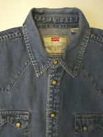 LEVI'S DENIM SHIRT MEN'S REGULAR FIT POPPERS LARGE MID BLUE LSHT730