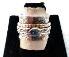 .925 SILVER OVERLAY WIDE CIGAR BAND BLUE TOPAZ TRIBAL SPINNER RING 62 SIZE 9