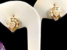 STRIKING 1960'S CROWN TRIFARI GOLD-TONE FAUX SEED PEARL CLUSTER CLIP EARRINGS