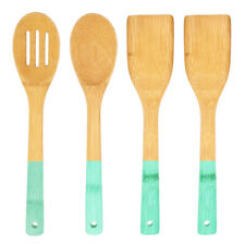 4 Pc Bamboo Spoon Spatula Wooden Set Kitchen Utensil Cooking Mix Non-Stick Tools