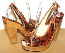 ❤️MICHAEL Kors Snakeskin Leather Sling-Back Wooden Clog Platform 8.5 M L@@K!o