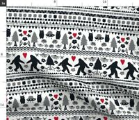 Hygge Folk Yeti Ufo Quirky Bigfoot Sasquatch Fabric Printed by Spoonflower BTY