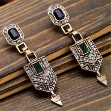 Vintage Drop Earrings with Black and Green Stones