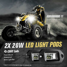 Pair 20W Flush Mount LED Pods Flood Work Light Bar Offroad Pickup Car Motor ATV