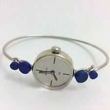 BULOVA 14K WHITE GOLD BANGLE WINDING WRIST WATCH BLUE LAPIS