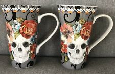 222 Fifth Marbella Skull Gray Latte Mugs Set of 2