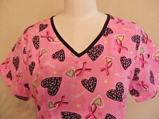 Scrub Star Breast Cancer Awareness Scrub Top Pink Black Womens XS Extra Small