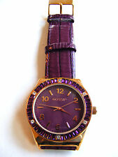 GOSSIP PURPLE LEATHER STRAP BAND RHINESTONE ENCRUSTED DIAL FACE AND BEZEL  WATCH