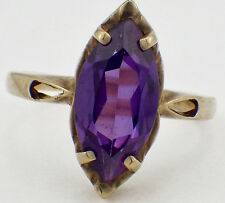 Vintage 10K Yellow Gold Marquise Cut Amethyst Stone Ring Size 6