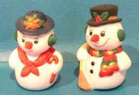 Vintage Mr & Mrs Snowman Ceramic Christmas Salt & Pepper Shakers 1992 Russ ~ NEW