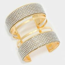 Crystal Rhinestone Statement  Cuff Cage Cut Out Hip Hop Bling Bracelet NEW