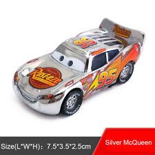 Disney Pixar Cars Metallic Finish Silver Chrome McQueen Diecast Toy Model Car