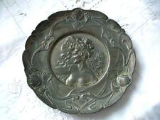 """Pewter Art Nouveau lady/floral Plate Platter 7.5"""" Dia"""