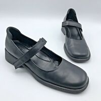 ECCO Twist Women Black Leather Square Toe Mary Jane Shoe Velcro Size 8 Pre Owned