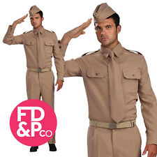 Adult WW2 Private Soldier Costume Mens 1940s U.S. Fancy Dress Uniform Outfit New