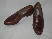 Vintage 198os Leather Shoes Penny Loafers Italian by Paloma Aligator Pattern 9