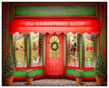 Red Christmas Shop Scene Photography Backgrounds 8x6.5ft Vinyl Photo Backdrops