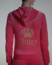 JUICY COUTURE $118 Small DRAGONFRUIT PINK VELOUR CROWN ROBERTSON JACKET HOODIE