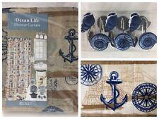 Nautical Beach House SEASHELLS Ocean Fabric Shower Curtain Hooks Bath Rug Set