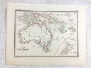 1846 Antique Map of Australia Melanesia New Zealand Rare Hand Coloured Engraving