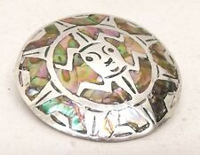 Vtg Sterling Silver Abalone Brooch Pendant Signed Mexico Pin Mayan Sun God Aztec