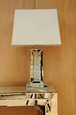 Large Table Lamp 67cm Mirrored with Floating Crystal Base White Fabric Shade