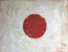 "ORIGINAL OIL MARIO MENDOZA ""Japan Grunge Flag"" Japanese tokyo World Cup PAINTING"