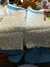 """Cadillac Curtains, Aspen, 4 panels each 30"""" x 24"""", white with blue flowers"""
