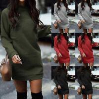 Womens Fleece Bodycon Sweater Dress Knitted Long Sleeve Pullover Mini Dresses