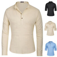Men's Slim Fit V Neck Long Sleeve Cotton Linen Henley Tops Tee T Shirt Casual