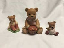 HomeCo Teddy Bear Figurines ~ Lot Of Three 1405 1462 1422 - Cute! B902