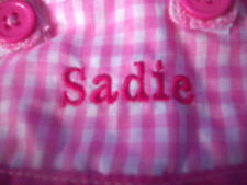 "EASTER BUNNY Plush Rabbit WITH PERSONALIZED DRESS NAME = SADIE 14.5""  NEW"