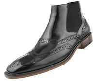 Asher Green Mens Black Double Gore Leather Wingtip Dress Boot: AG2632-000