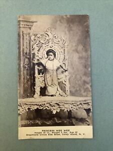 Princess Wee-Wee age 22 wt 9 lbs. Unused Postcard Dreamland Circus Coney Island