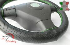 FOR PRAGA AN -BLACK PERF LEATHER STEERING WHEEL COVER GREEN STITCH