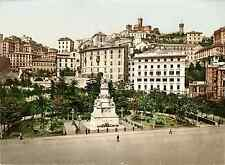 Genova. Piazza dell' Acqua Verde.   Photochrome original d'époque, Vintage